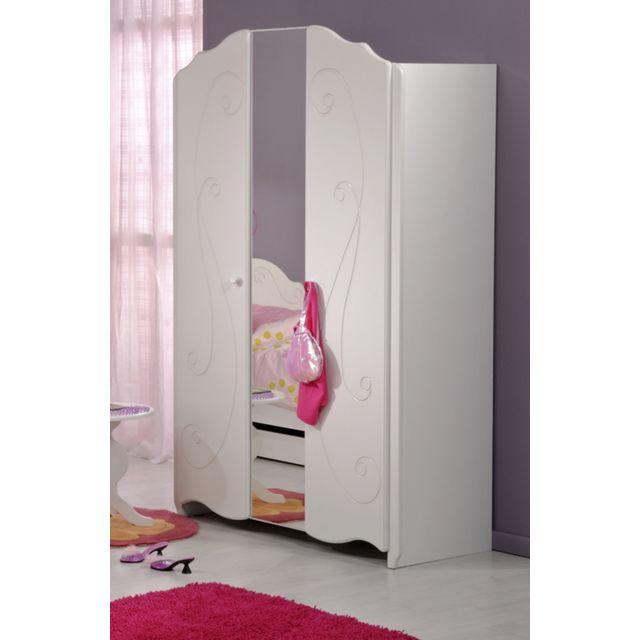 Last Meubles - Armoire 2 portes Valentine Blanc - 52cm x 188cm x 116cm