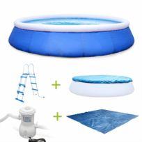 Kit piscine complet - Emeraude bleue - autoportante ronde Ø450x90cm avec pompe de filtration, bâche de protection, tapis de sol et échelle, piscine hors sol autostable