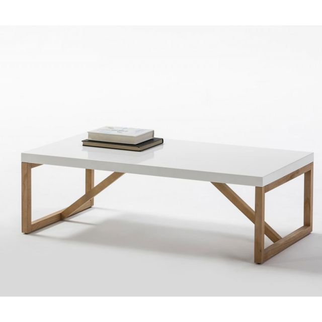Table Basse Rectangulaire Blanc Bois Milan