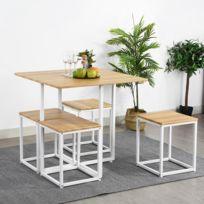 Ensemble de table à manger avec 4 chaises de salle à manger Table de coin  repas, noyer / chêne