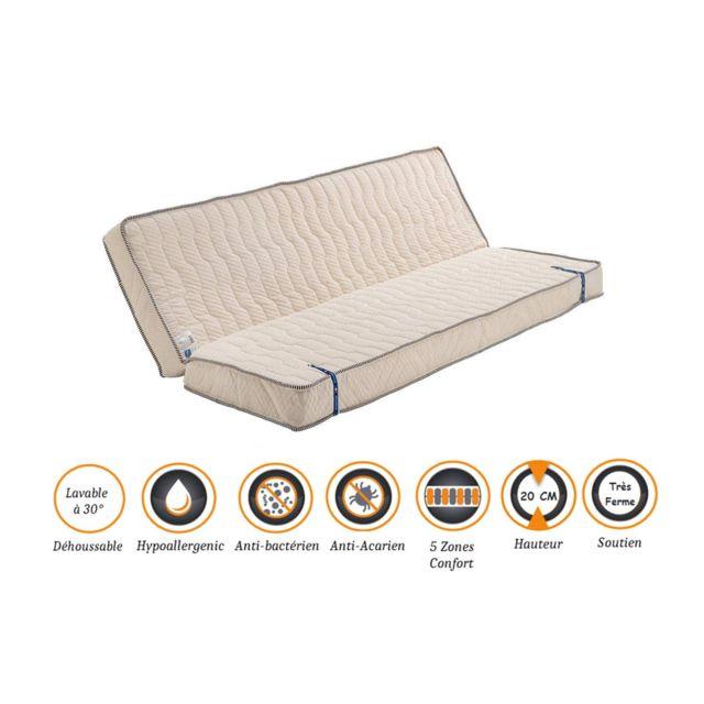 Nuits D'OR Matelas Très Ferme Pour Clic Clac 120x190 x 20 cm - Dim Assise 60 cm - Déhoussable Housse Lavable - 5 zones de Confort -