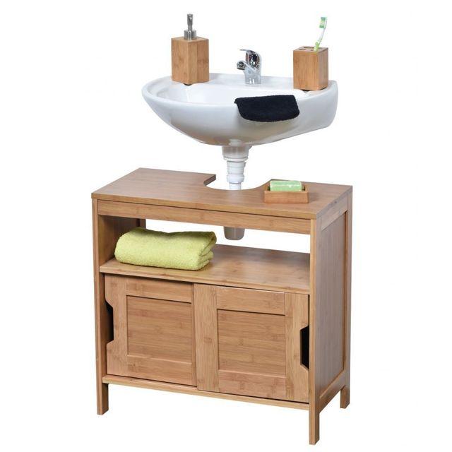 tendance meuble sous lavabo en bambou 2 portes coulissantes mahe