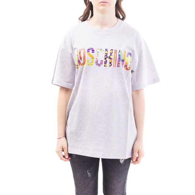 MOSCHINO Homme A072102401485 Gris Coton T-shirt