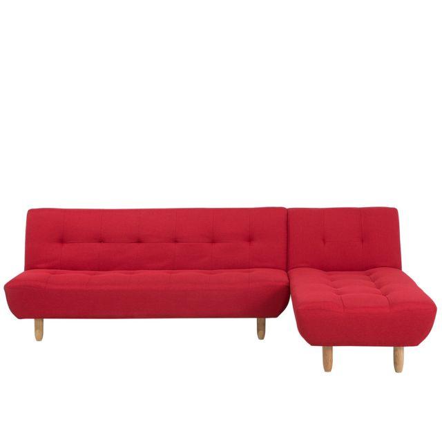 BELIANI Canapé angle gauche en tissu rouge ALSTEN