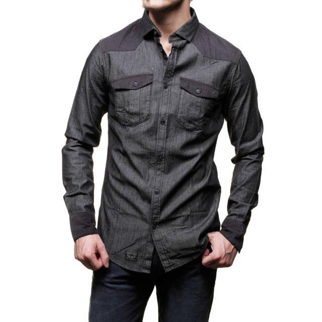 Armani - Chemise Jeans B6c75 Nb Black - pas cher Achat   Vente Chemise homme  - RueDuCommerce 99c3da1b6c35