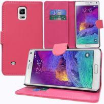 Vcomp - Housse Coque Etui portefeuille Support Video Livre rabat cuir Pu pour Samsung Galaxy Note 4 Sm-n910F/ Note 4 Duos Dual Sim, N9100/ Note 4 CDMA, / N910C N910W8 N910V N910A N910T N910M - Rose