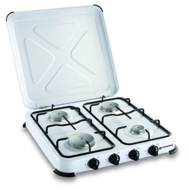 Kemper plaque de cuisson gaz portable 4 feux 4650 w blanc laqu pas cher achat vente - Cuisson mont d or four ...
