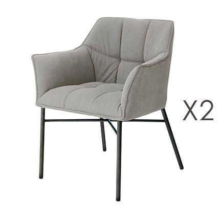 Lot de 2 fauteuils en tweed anthracite et acier gris brossé