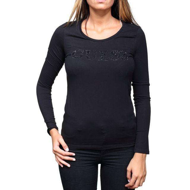 Guess - Tee shirt femme W73i14 - J1300 A996 Noir - pas cher Achat   Vente  Polo femme - RueDuCommerce 4bd207b2bba