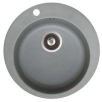 Baltic Meubles - Evier granit - rond sans égouttoir - 4 coloris blanc/sable/gris ou noir Ref Cla Sr100