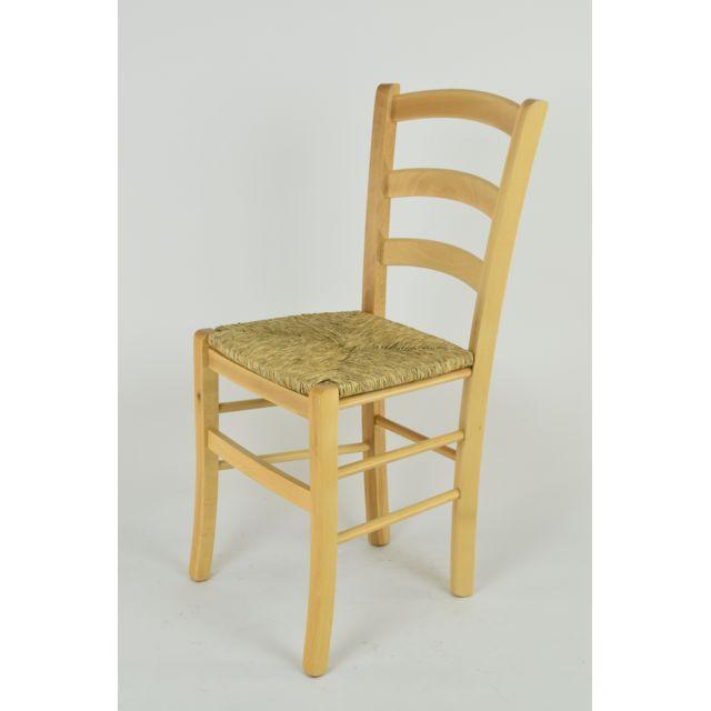 Set 1 Chaise Venice Pour La Cuisine Et La Salle A Manger Structure En Bois Couleur Naturel Et Assise En Paille
