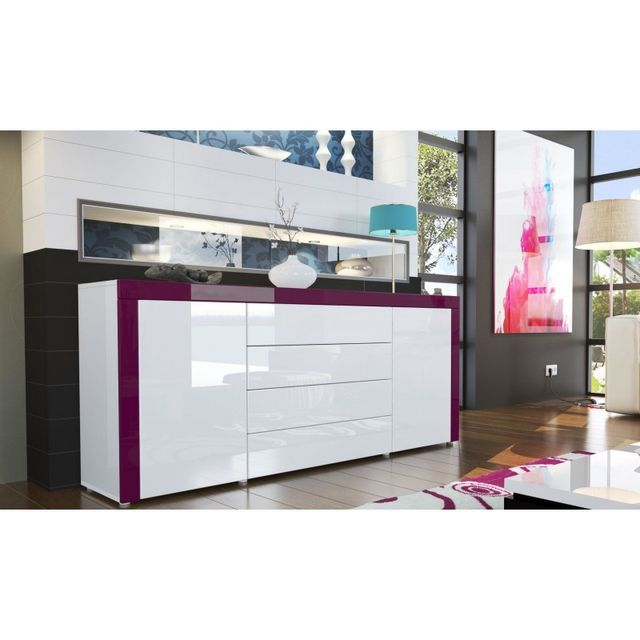 Mpc buffet design laqué blanc/blanc/violet