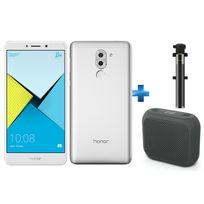 HONOR - 6X Silver + Perche à Selfie filaire pour smartphone iOs et Android - Noire + Enceintes bluetooth M-312 Muse Noir