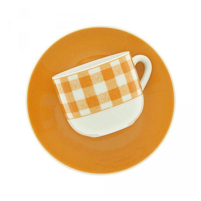 Maison A Vivre Lot de 6 tasses à café avec sous-tasses Vichy