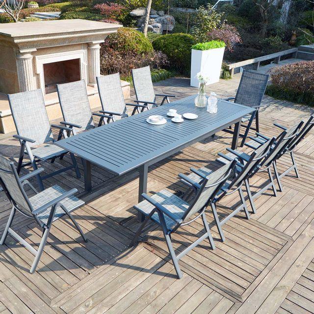 CONCEPT USINE Berana 10 : table de jardin extensible 10 personnes + 10 chaises en aluminium