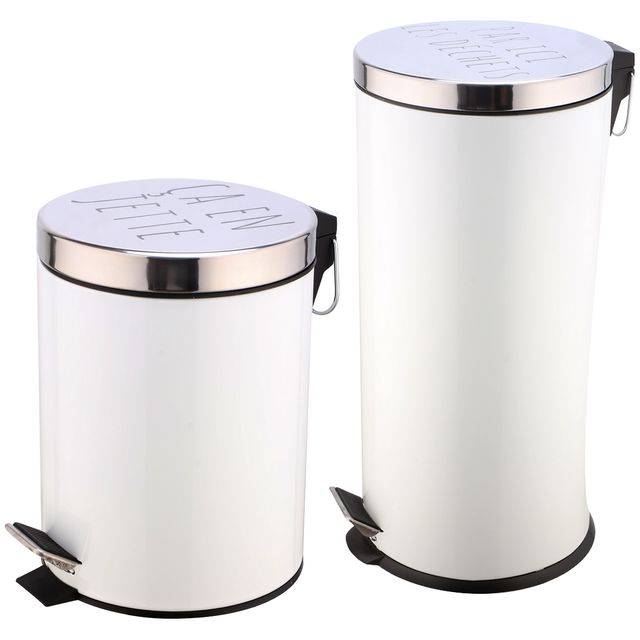 Promobo Set Duo Lot 2 Poubelles A Pédales Métal Design Blanc Inscription Humour 27L et 5L