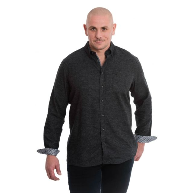 &TRADITION Chemise gris anthracite chiné
