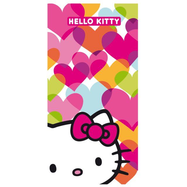 Hello Kitty drap de plage blanc 075X150 cm 100% coton
