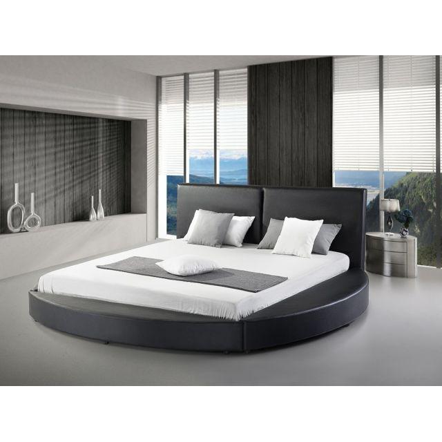 Beliani Lit design en cuir - lit rond 180x200 cm - noir - sommier inclus - Laval