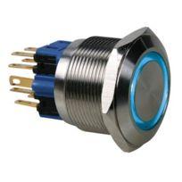 Switches - Bouton-poussoir - Plat - Acier Inoxydable - Dpst 1NO 1NF - Anneau Bleu