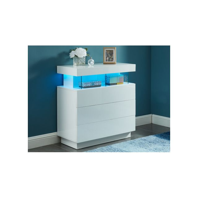 VENTE-UNIQUE Commode FABIO - MDF laqué blanc - LEDs - 3 tiroirs