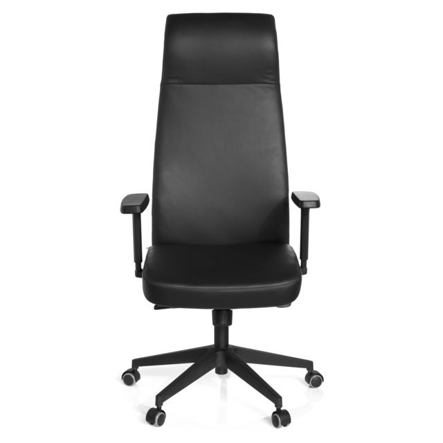 Hjh Office Fauteuil de bureau grande taille, SAVONA cuir Nappa noir