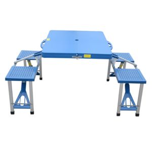 Homcom table de camping pique nique pliante portable en plastique avec 4 sieges bleu 09 pas - Table de camping pliante carrefour ...