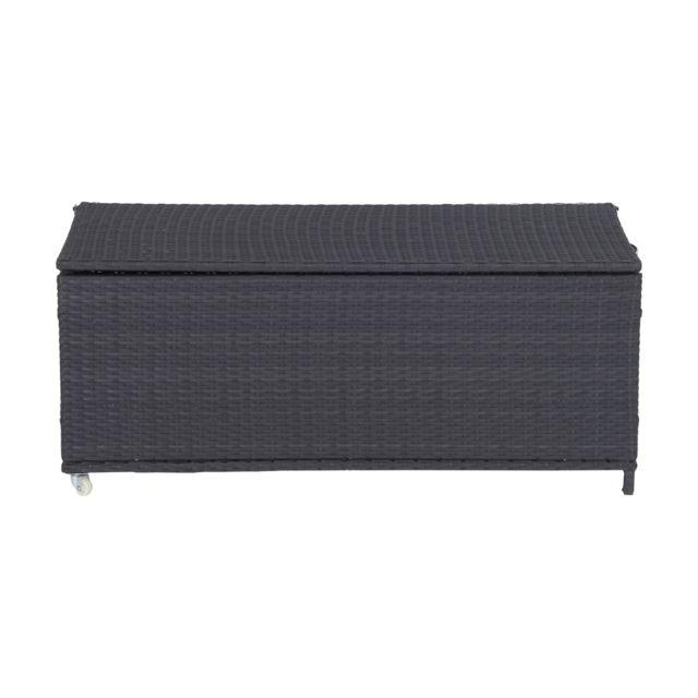 outsunny coffre malle de rangement 120 x 55 x 48 cm double roulettes r sine tress e 4 fils. Black Bedroom Furniture Sets. Home Design Ideas