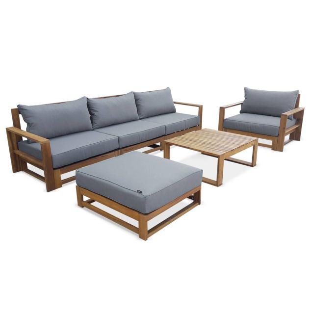 Salon de jardin en bois 5 places - Mendoza - Coussins gris, canapé,  fauteuils et table basse en acacia, 6 éléments modulables, design