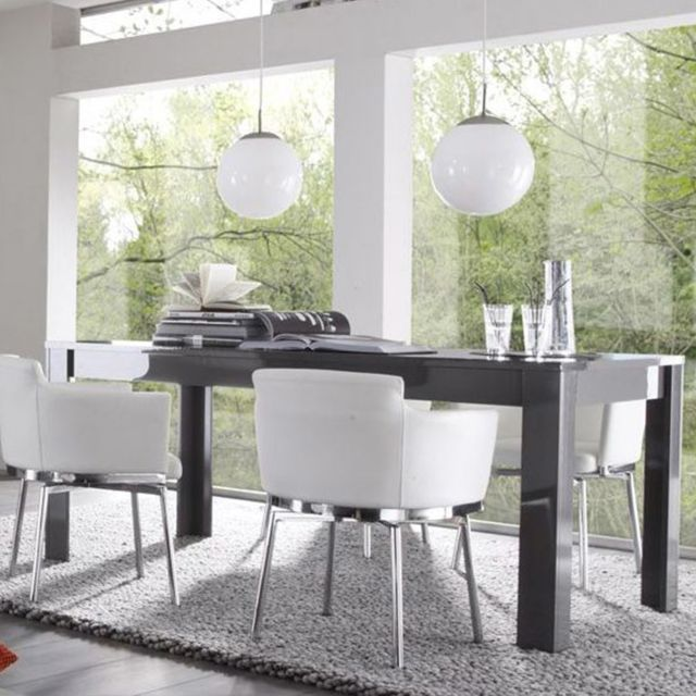 Kasalinea Table à manger design gris laqué brillant Dominos 2 - Sans rallonge - L 180 cm