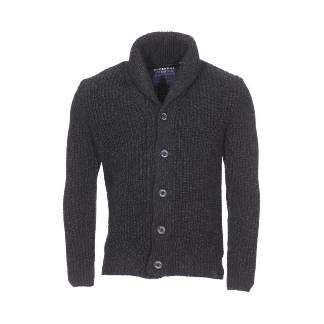 f825e654c1f9 Superdry - Cardigan col châle Jacob en laine mélangée torsadée noir chiné - pas  cher Achat   Vente Gilet homme - RueDuCommerce