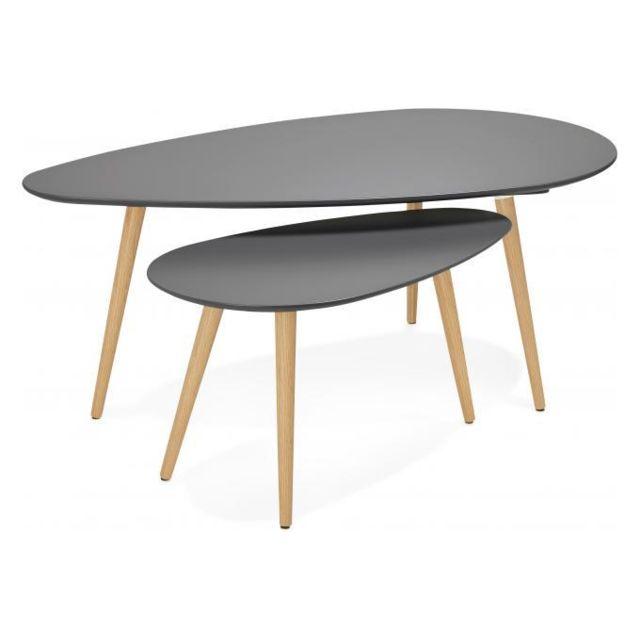 Declikdeco Ensemble de deux tables gigognes scandinaves grises Stacy