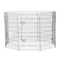 PAWHUT - Parc enclos pour chiens chiots animaux domestiques diamètre 158 cm 8 panneaux 71L x 107H cm noir 28