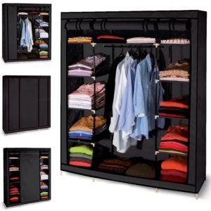 idmarket armoire de rangement noire dressing penderie xxl tissu pas cher achat vente. Black Bedroom Furniture Sets. Home Design Ideas