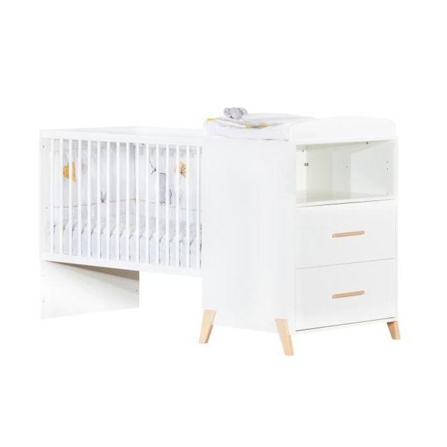 LIT BEBE Babyprice - JOY NATUREL - Lit Combiné Evolutif 120x60 en 90x190