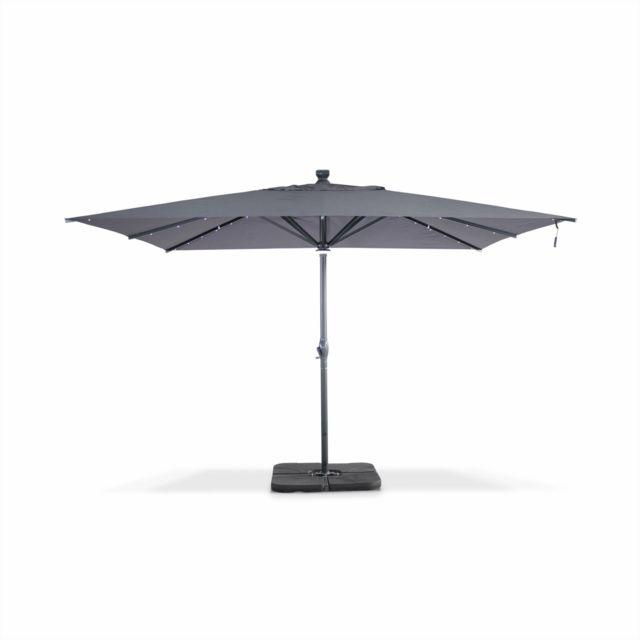 alice 39 s garden parasol solaire led g ant agusta 4x4m gris parasol droit lectrique. Black Bedroom Furniture Sets. Home Design Ideas