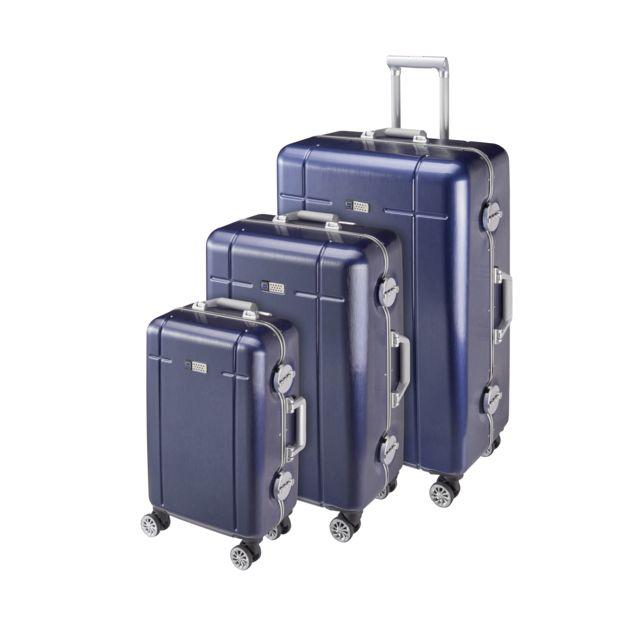 Lot de 3 valises rigides 4 roues doubles - PC - Bleu marine