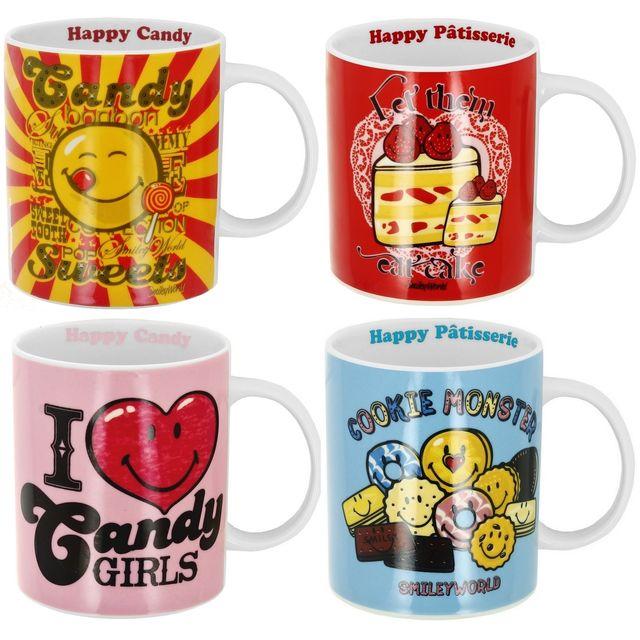 Promobo Lot Set 4 Coffrets Boites Cadeau Tasse Mug Collection Smiley World