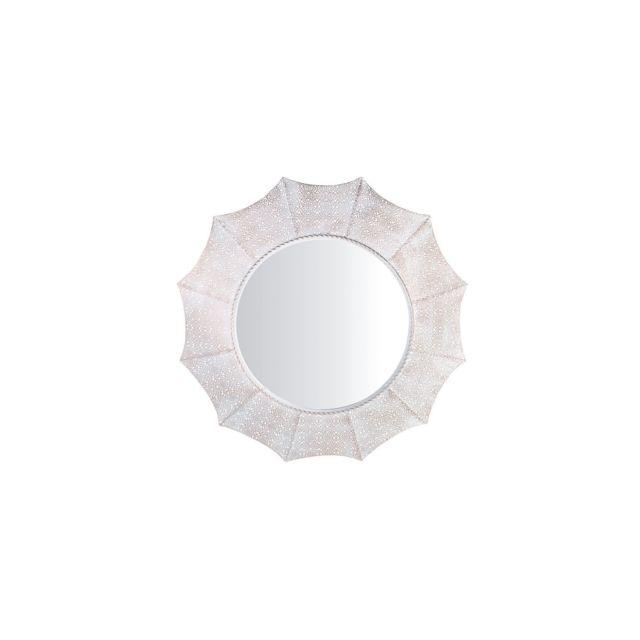 BELIANI Miroir rond blanc et cuivré MYSORE - argent