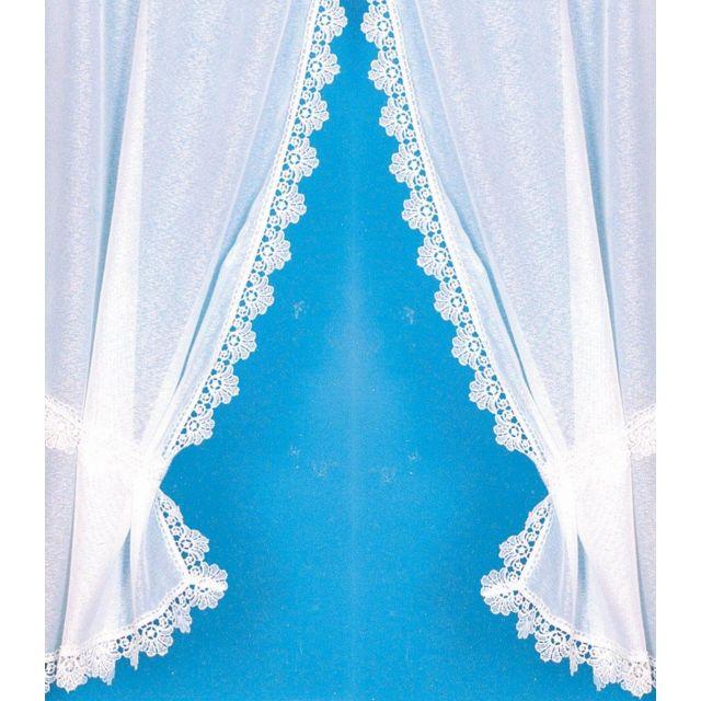 Homemaison rideau 39 bonne femme 39 avec bordure macram brillant pas cher achat vente voilage - Rideaux bonne femme macrame ...
