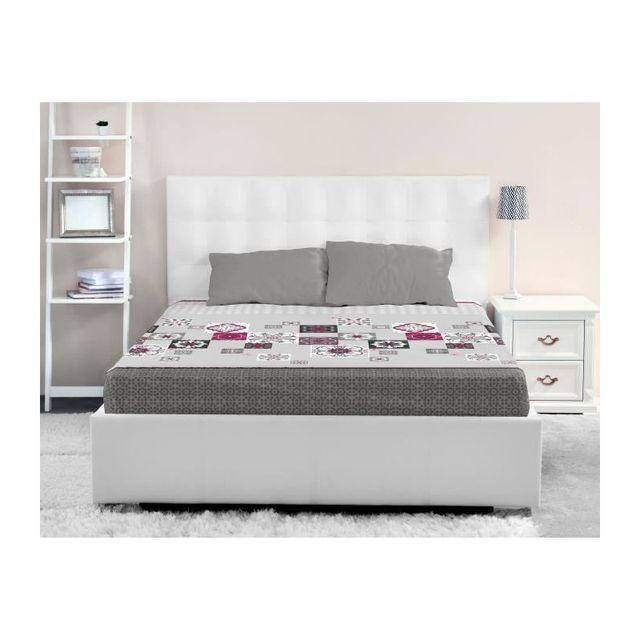 lovely home drap housse 100 coton mosaica 140x190 cm gris 40cm x 190cm pas cher achat. Black Bedroom Furniture Sets. Home Design Ideas
