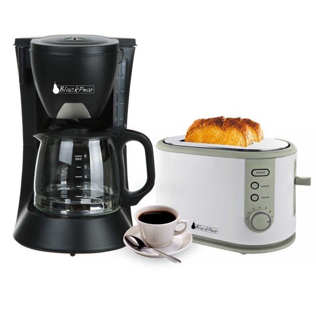 Blackpear Cafetière 6 tasses 650W noire + Grille pain 2 fentes larges 800W