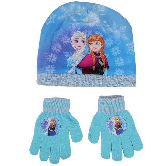 8e6f5dc01652 La Reine des Neiges - Bonnet Gants Fille Anna Elsa - pas cher Achat   Vente  Casquettes enfant - RueDuCommerce