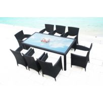 Malibu : Ensemble De Jardin Resine Tressee Poly Rotin Table + 8 Fauteuils
