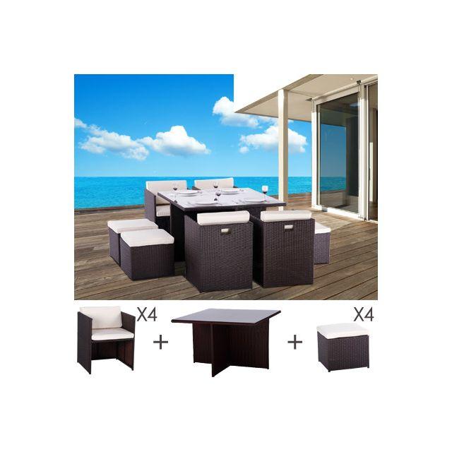 Table et fauteuils de jardin encastrables en résine tressée 8 places kubo choc