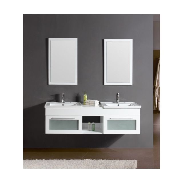 rocambolesk magnifique meuble salle de bain ch ne complet bahamas blanc meuble 2 vasques 2. Black Bedroom Furniture Sets. Home Design Ideas