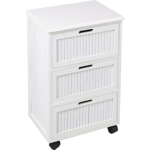 AUBRY GASPARD Commode blanche 3 tiroirs