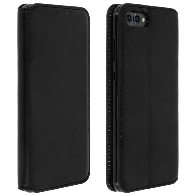 Avizar - Etui Honor View 10 Housse folio protection Classic Edition Coque Silicone Noir