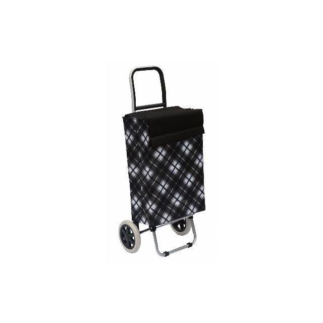 BO TIME - Chariot de courses deux roues - Capacité 40L - motif : Losanges noirs