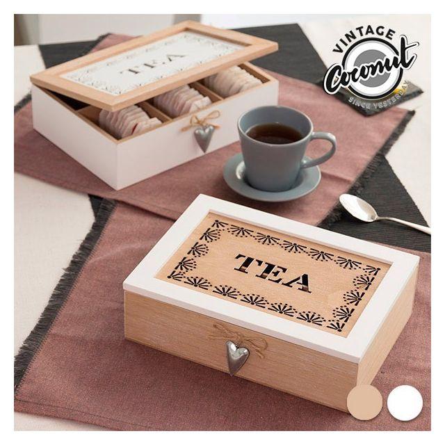 Totalcadeau Boîte de rangement pour thé infusions Couleur - Marron